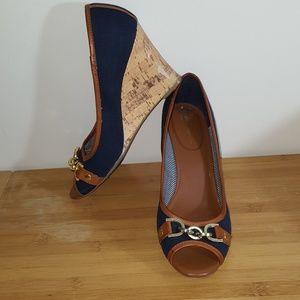 Tommy Hilfiger Women Navy Blue Cork Wedge Size 8.5